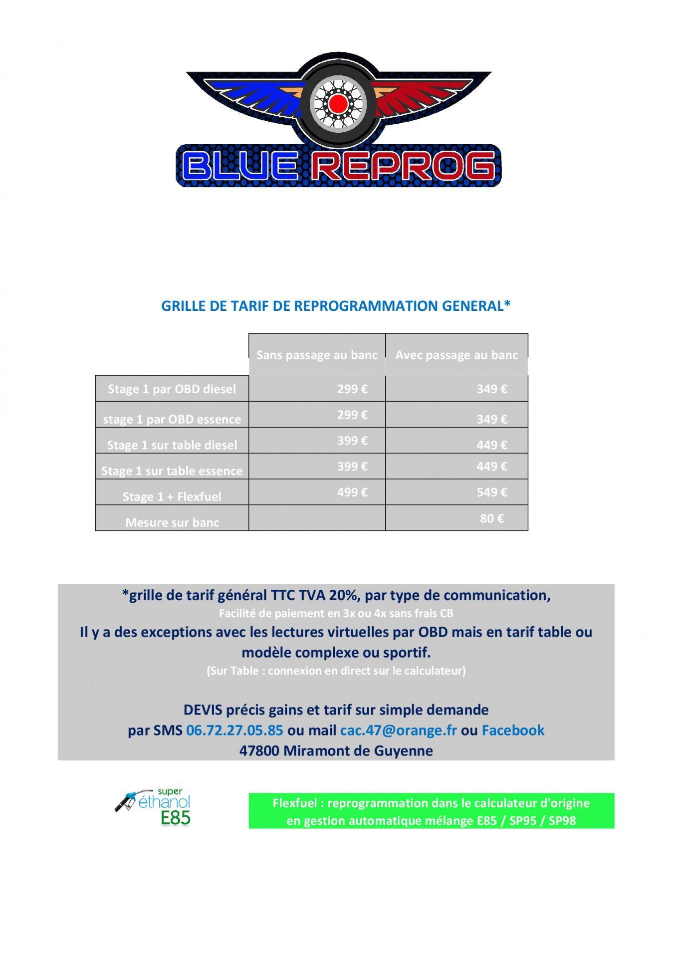 Grille de tarif de reprogrammation general